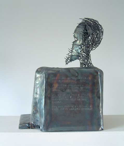 2005 block statue Psalm 139 (metal sheet, welding rods)