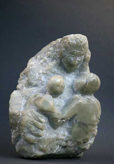 2008 old woman with children (soap stone)